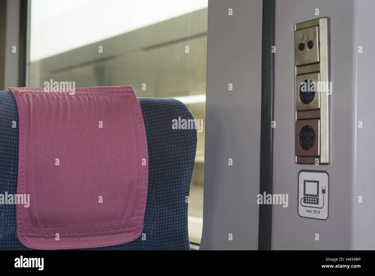 Train compartment, seat, sockets, nobody, trajectory carriage, train, compartment, inside, pillows, connections, Stock Photo