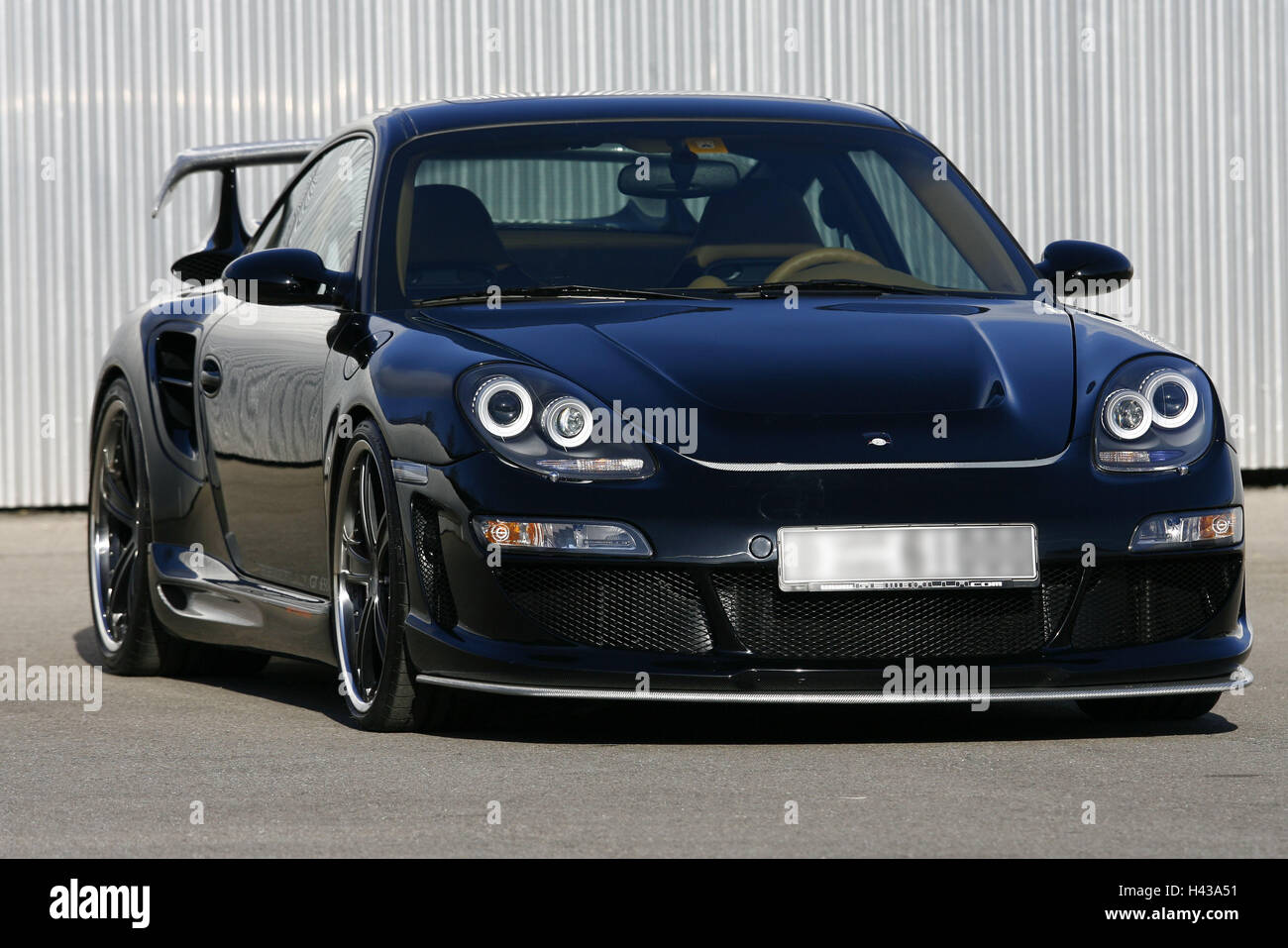 Sports cars, Porsche Gemballa, black, car, Porsche, Gemballa, luxury, nobly, exclusively, expensive, vehicle, motoring, - Stock Image