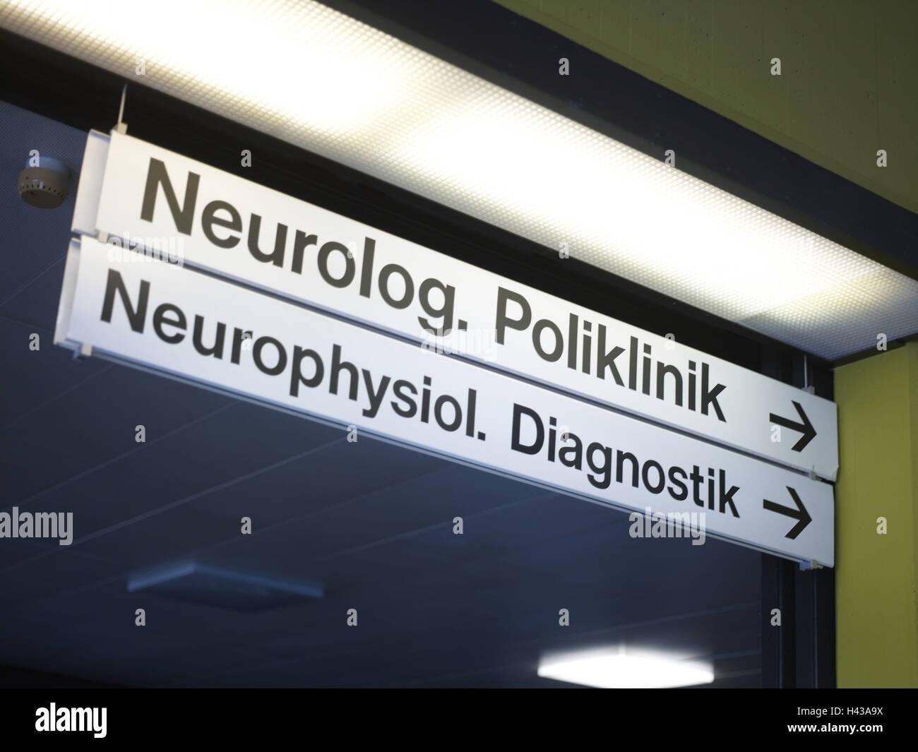 Sign, neurology, clinic, diagnostics, neuro physiology, - Stock Image