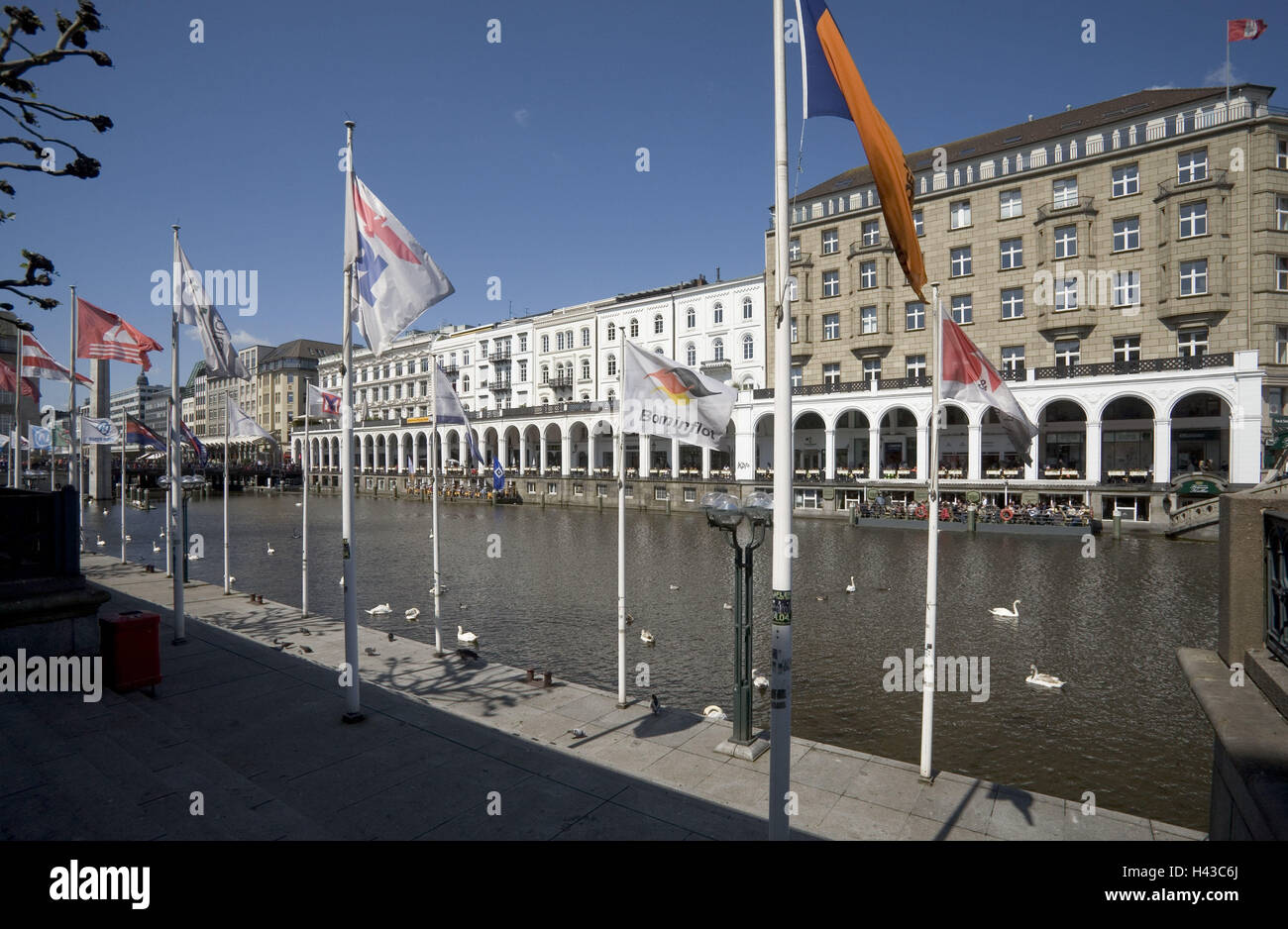 Germany, Hamburg, Alster arcades, the Alster, Fading, Flags, - Stock Image