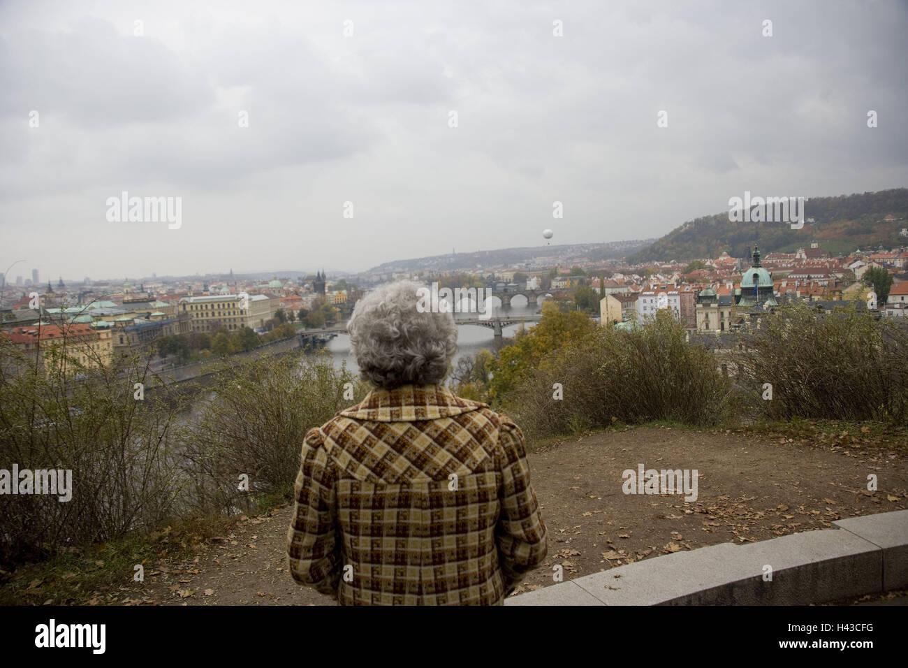 Czech Republic, Prague, Letna Park, lookout, tourist, back view, - Stock Image