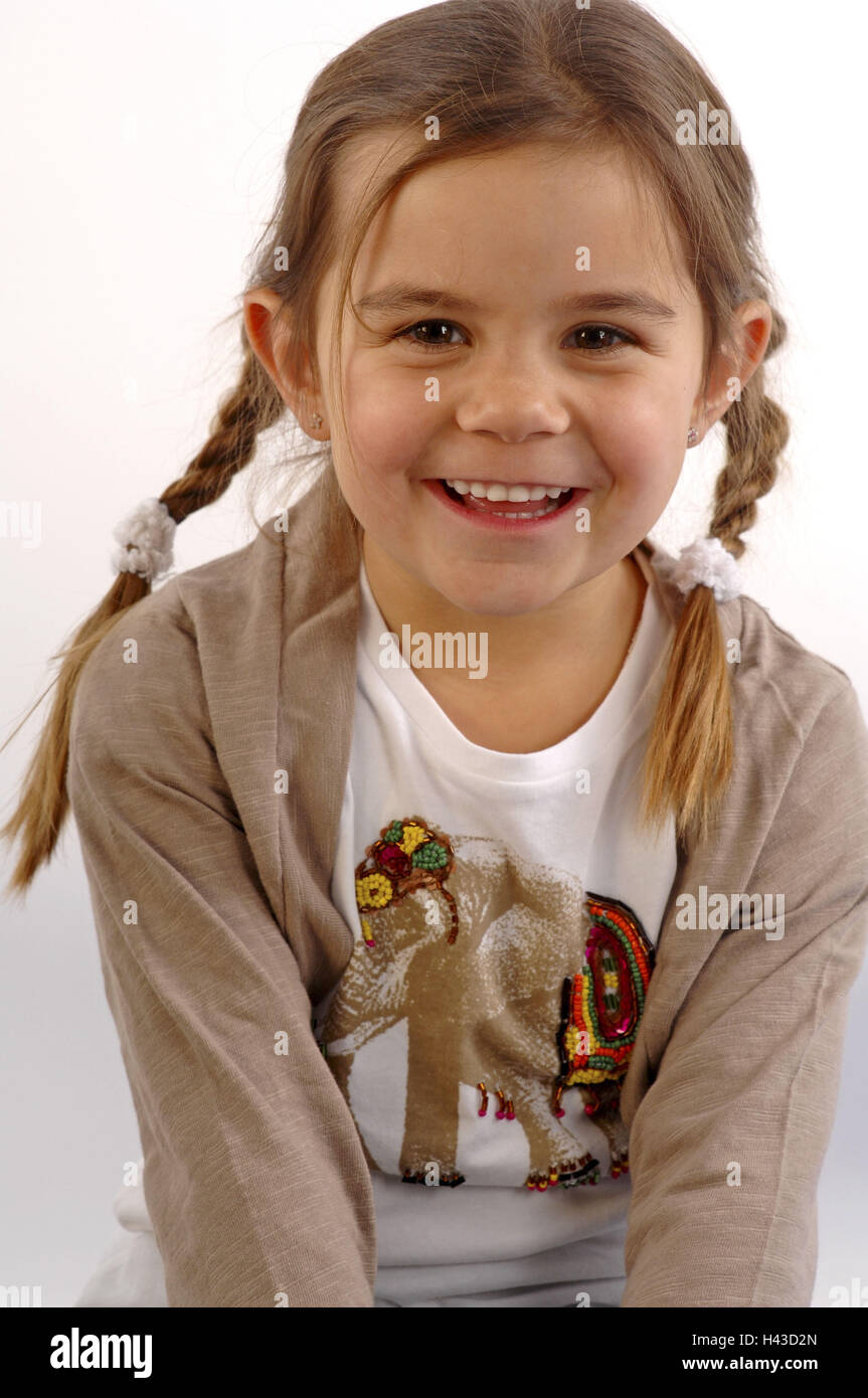 Girls, smile, brunette, plaits, portrait, - Stock Image