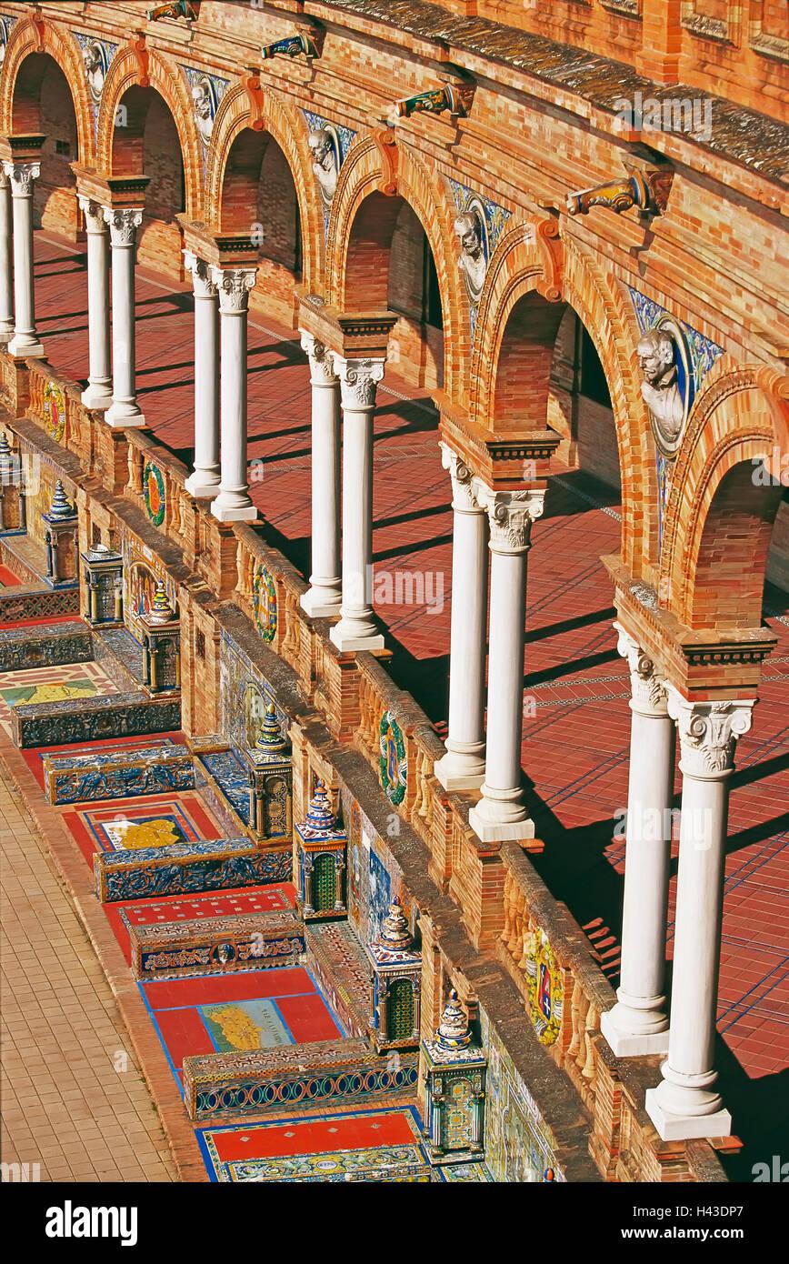 Arcades and decorative tiles, Plaza de España, Seville, Andalusia, Spain - Stock Image