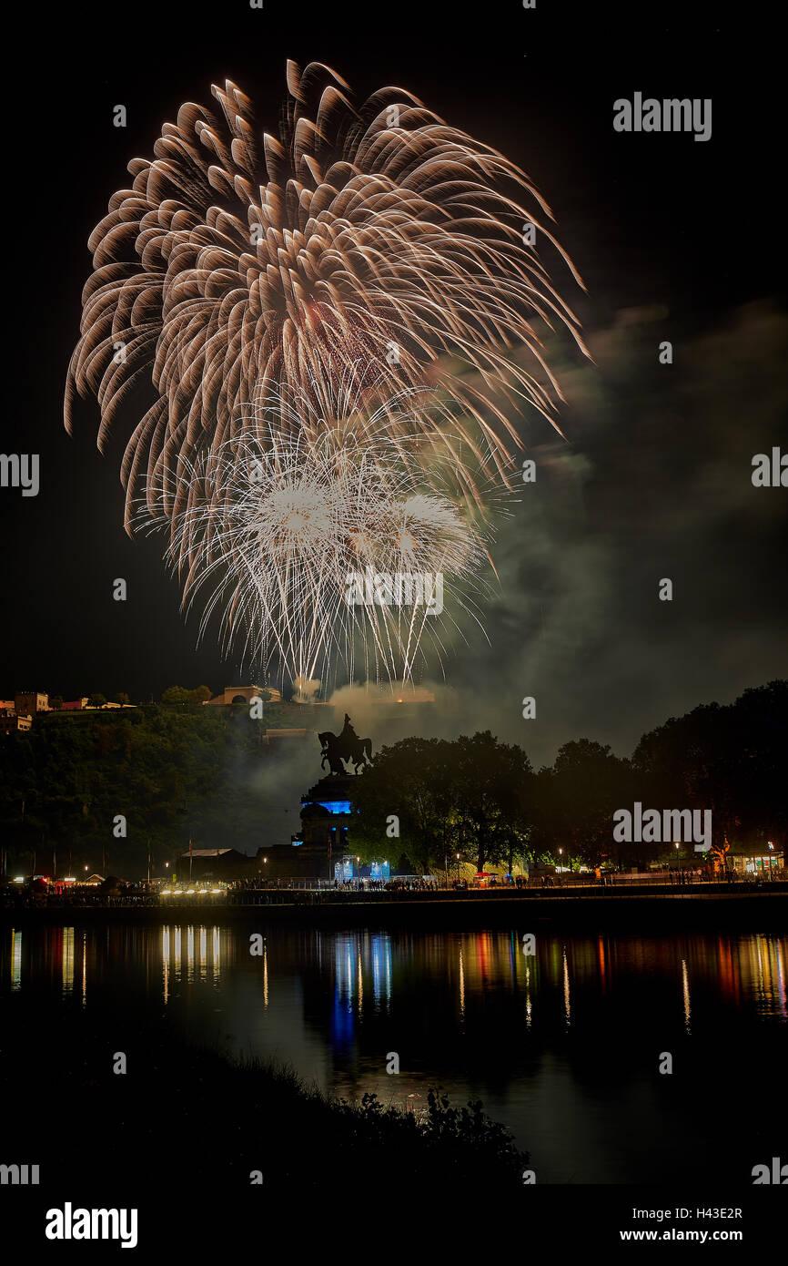 Fireworks at the Ehrenbreitstein Fortress, Koblenz Summer Festival, Rhein in Flammen, Rhine in Flames 2016, Deutsches - Stock Image