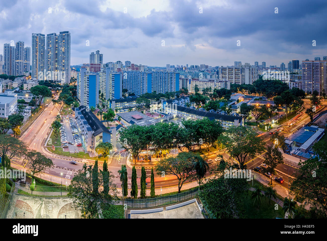 City skyline at dusk, Toa Payoh, Singapore - Stock Image