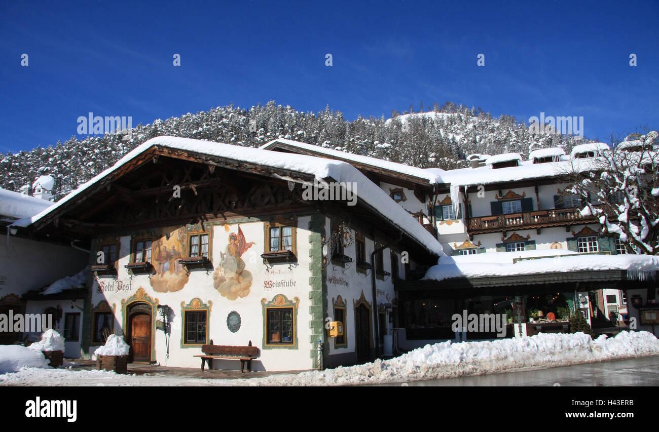 Germany, Bavaria, Werdenfels, embankment region, postal hotel, facade, Lüftlmalerei, South Germany, Upper Bavaria, - Stock Image