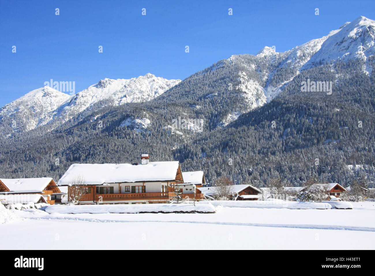 Germany, Bavaria, Werdenfels, embankment region, local view, to Soiern, South Germany, Upper Bavaria, place, building, - Stock Image