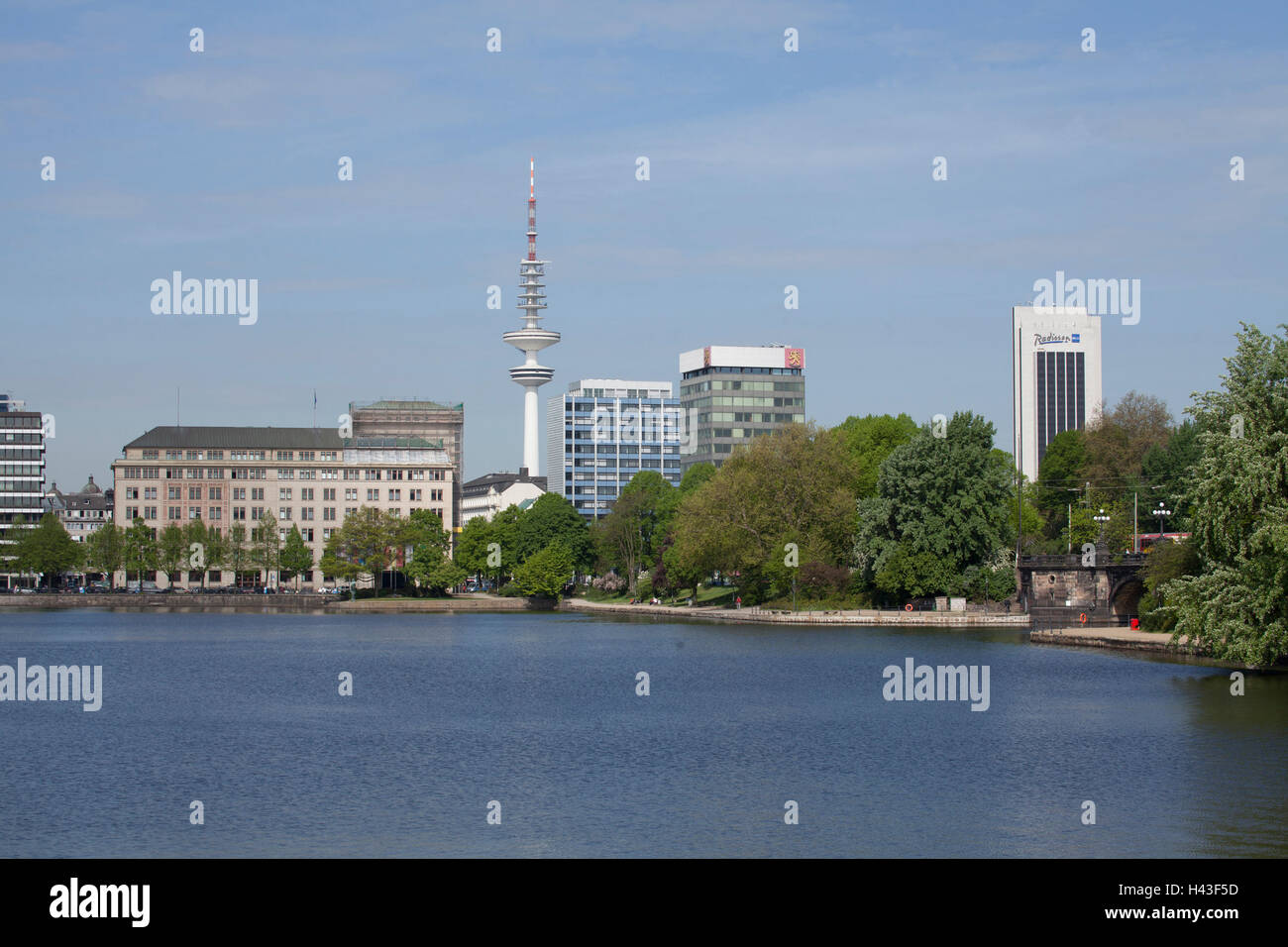 Inner Alster Lake with television tower and Radisson Blu Hotel, Hamburg, Germany - Stock Image