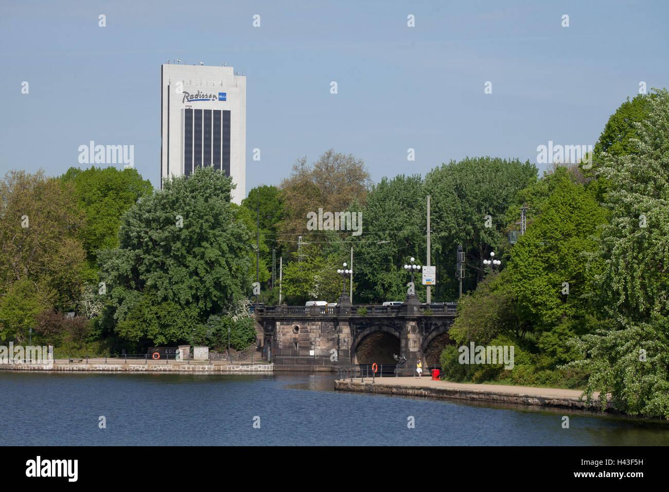 Inner Alster Lake with Radisson Blu Hotel and Lombard Bridge, Hamburg, Germany - Stock Image