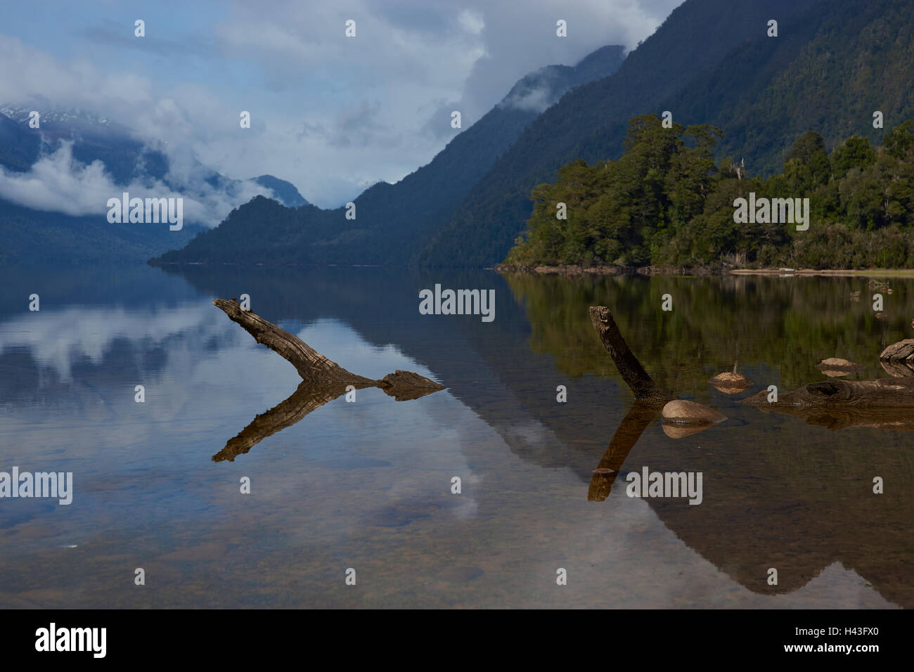 Lake Rosselot located along the Carretera Austral in the Aysen Region of southern Chile. - Stock Image