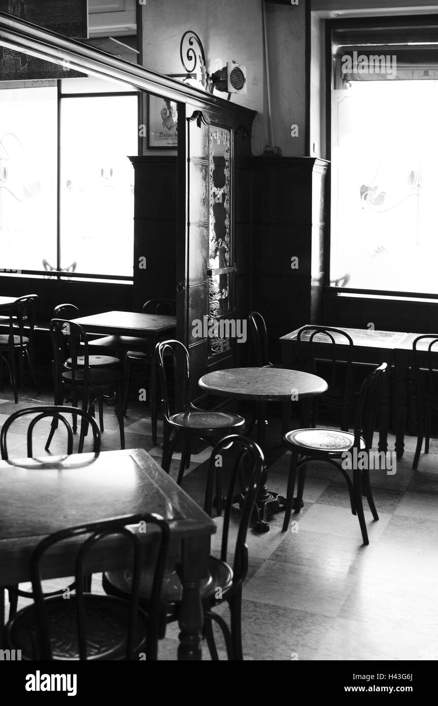 Italy, Milan, bar Magenta, b/w, , - Stock Image