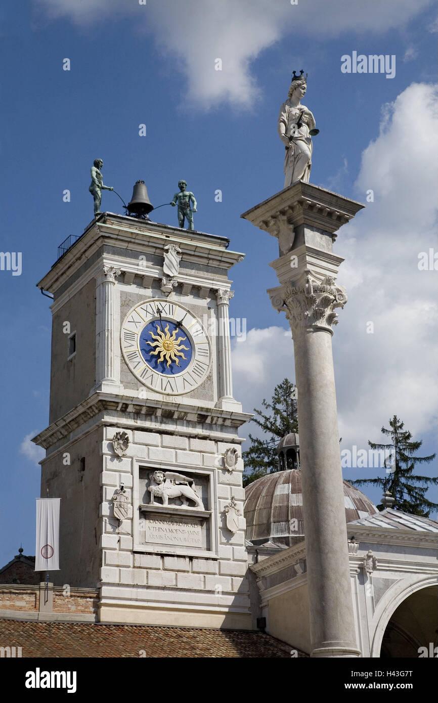 Italy, Udine, Piazza della Liberta, Torre dell' Orologio, detail, clock tower, tower, fortress attack, carillon, - Stock Image