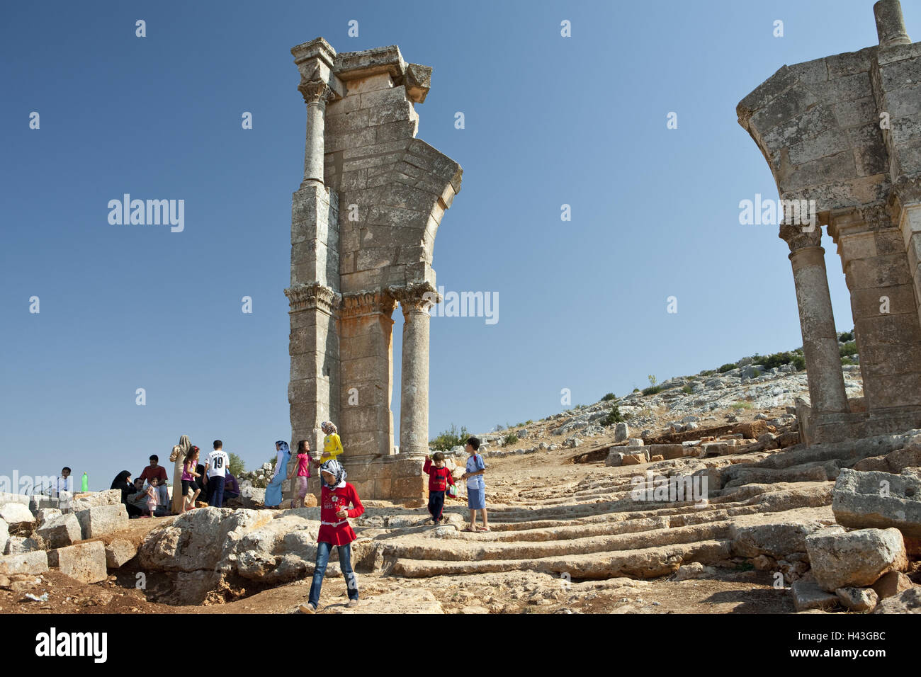 Syria, Qal'at Siman, ruin site, tourist, - Stock Image