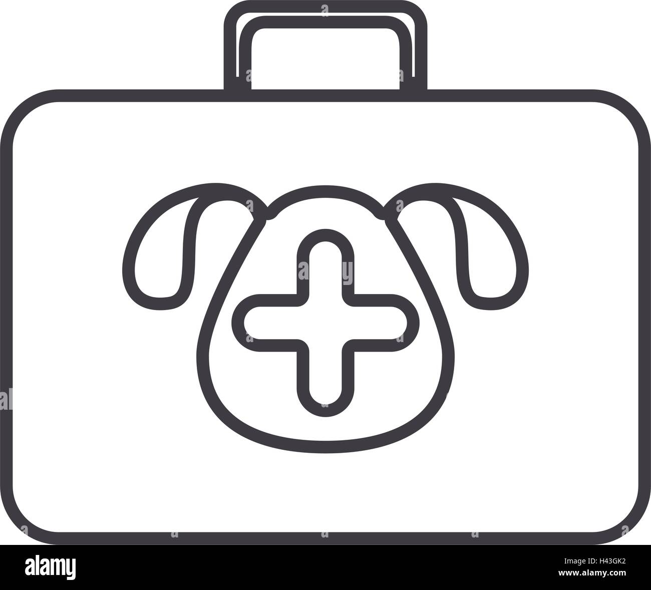 silhouette with briefcase first aid vet - Stock Vector