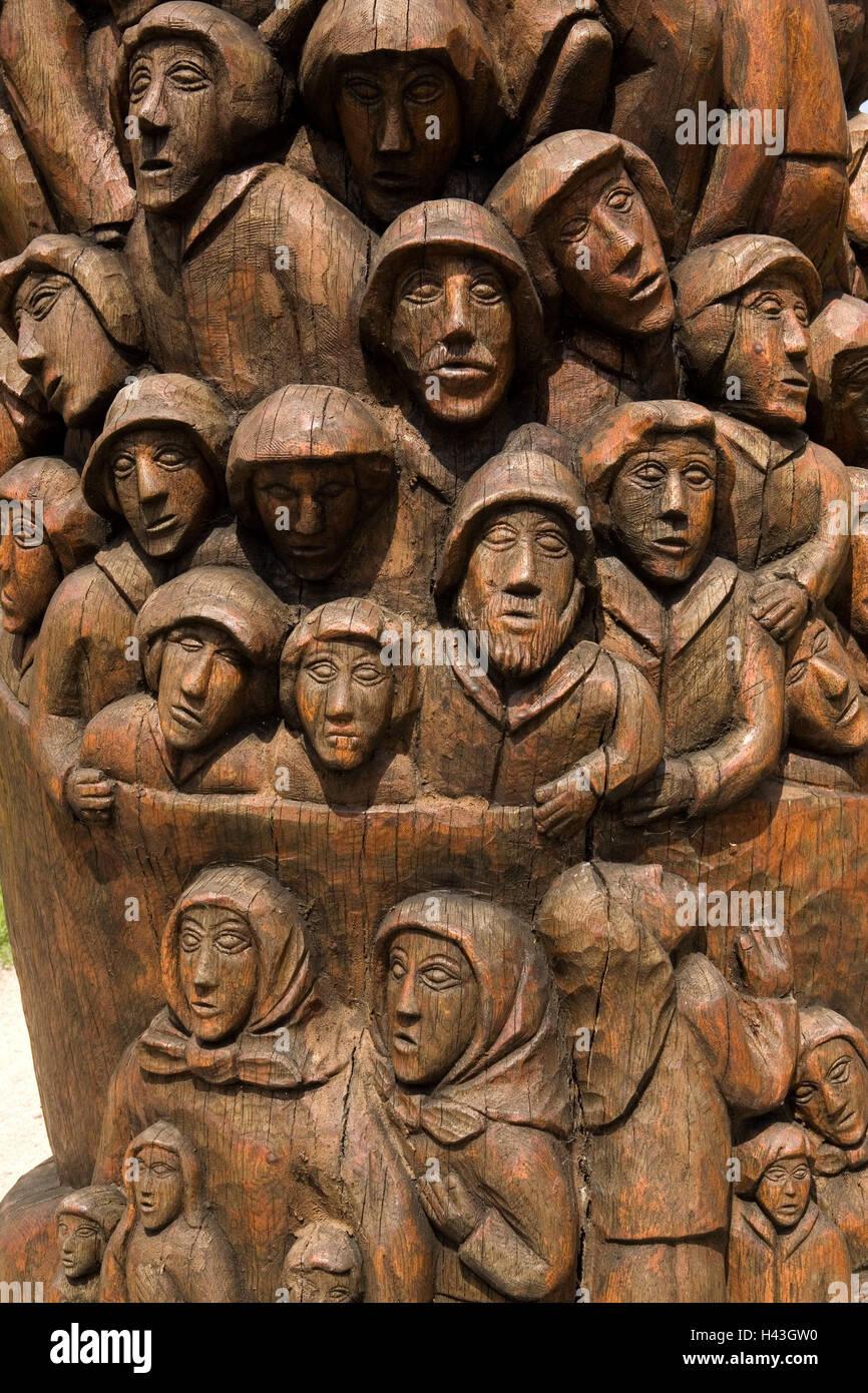 Germany, Hamburg, Altona, emigrant's monument, close up, North Germany, Hanseatic town, Kaistrasse, wooden, - Stock Image