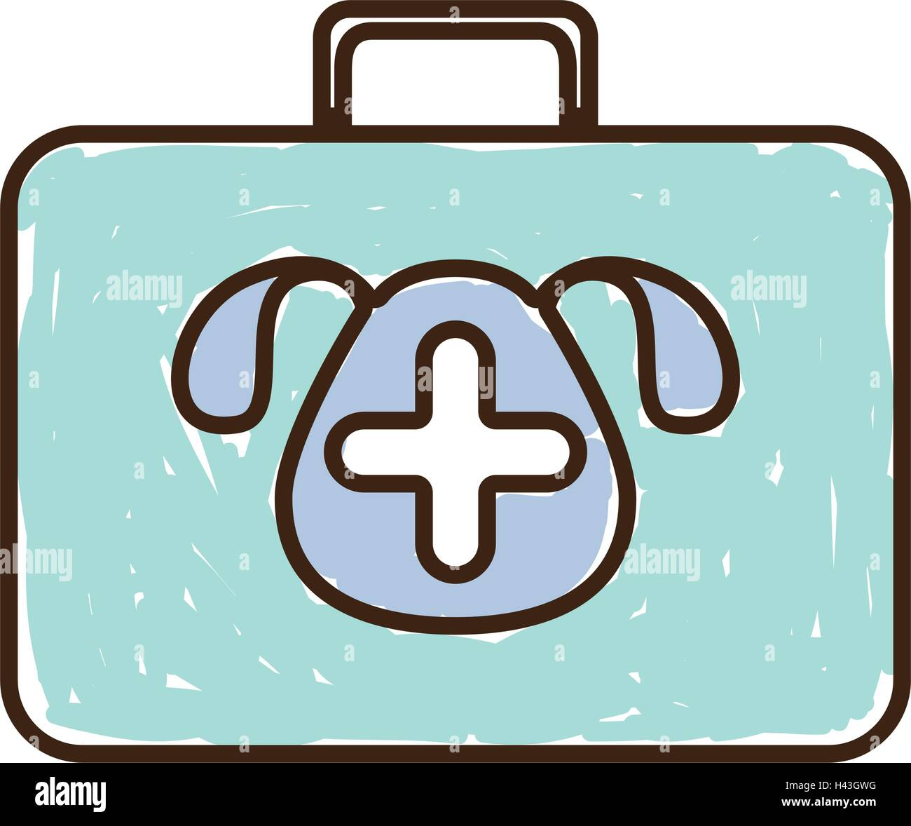 silhouette with briefcase first aid vet color - Stock Vector
