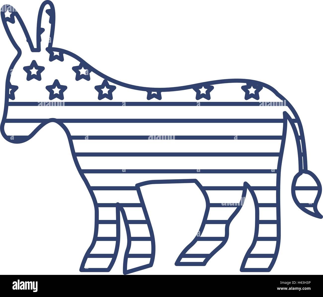 silhouette donkey flag united states - Stock Image