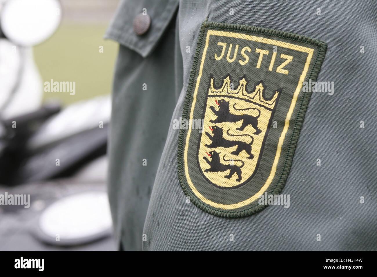 Uniformly, detail, badge, justice, Aufnäher, official, magistrate, uniform jacket, sleeve, official uniform, - Stock Image