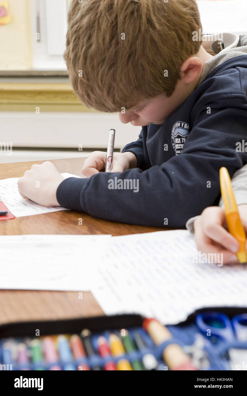 Classrooms, schoolboys, lessons, write, - Stock Image