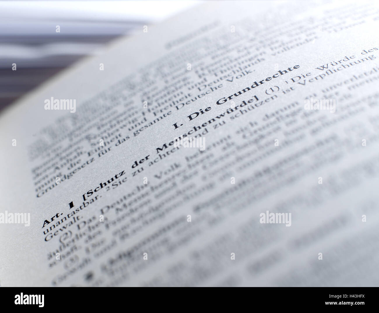 Book, basic law, whipped, fundamental rights, Germany, Basic Law, code law, pages, rights, constitution, article, - Stock Image