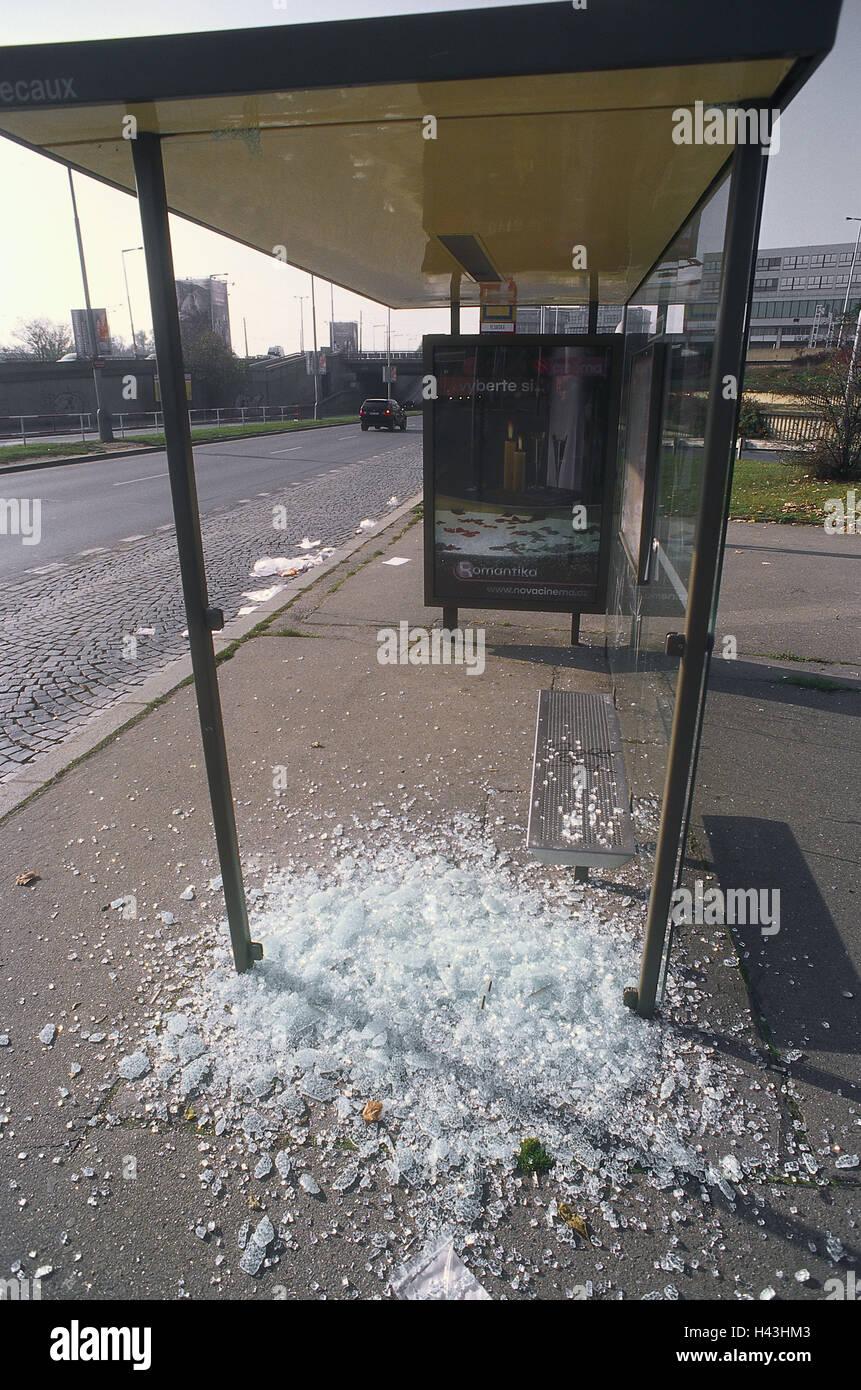 Czechia, bus stop, broken glass, vandalism, town, capital, stop, deserted, broken, riot, windowpane, glass, broken, - Stock Image