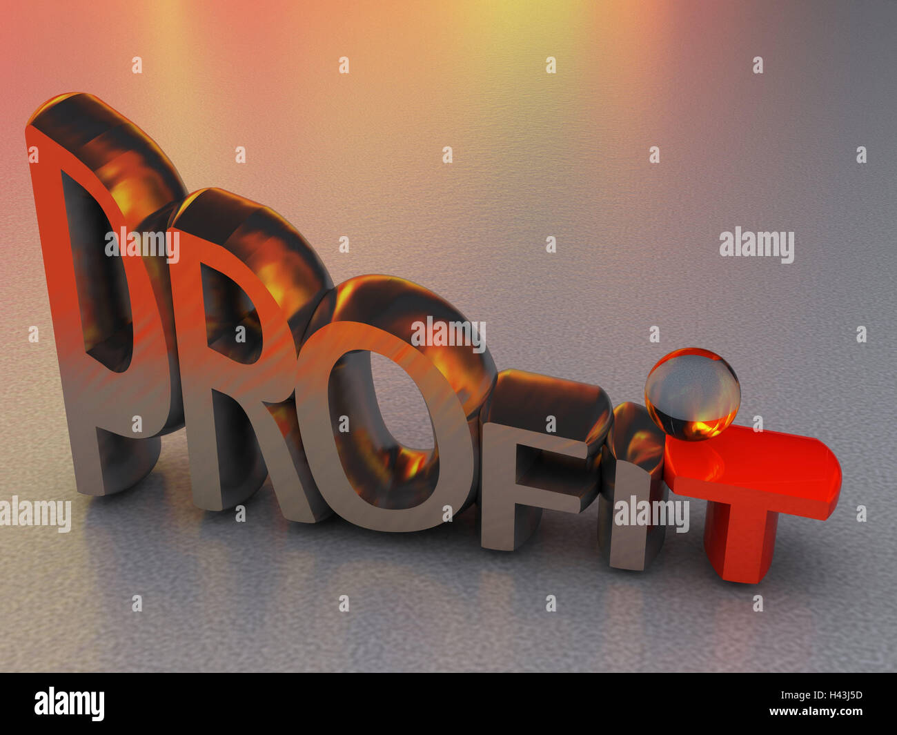 Metal letters, stroke, profit, shrink, 3d-graphics, letter, word, silver, red, economy, finances, firelight, crisis, - Stock Image