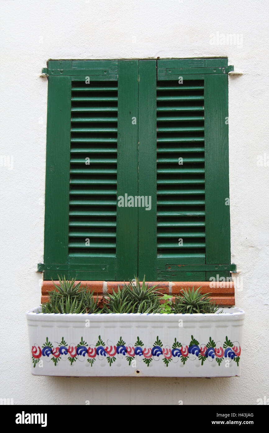 Majorca, mountain village, residential house, facade, detail, window, window box, cacti, Spain, the Balearic Islands, - Stock Image