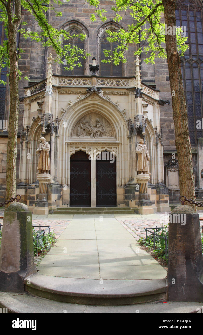 Germany, Saxon Switzerland, Pirna, Marien's church, detail, portal, - Stock Image