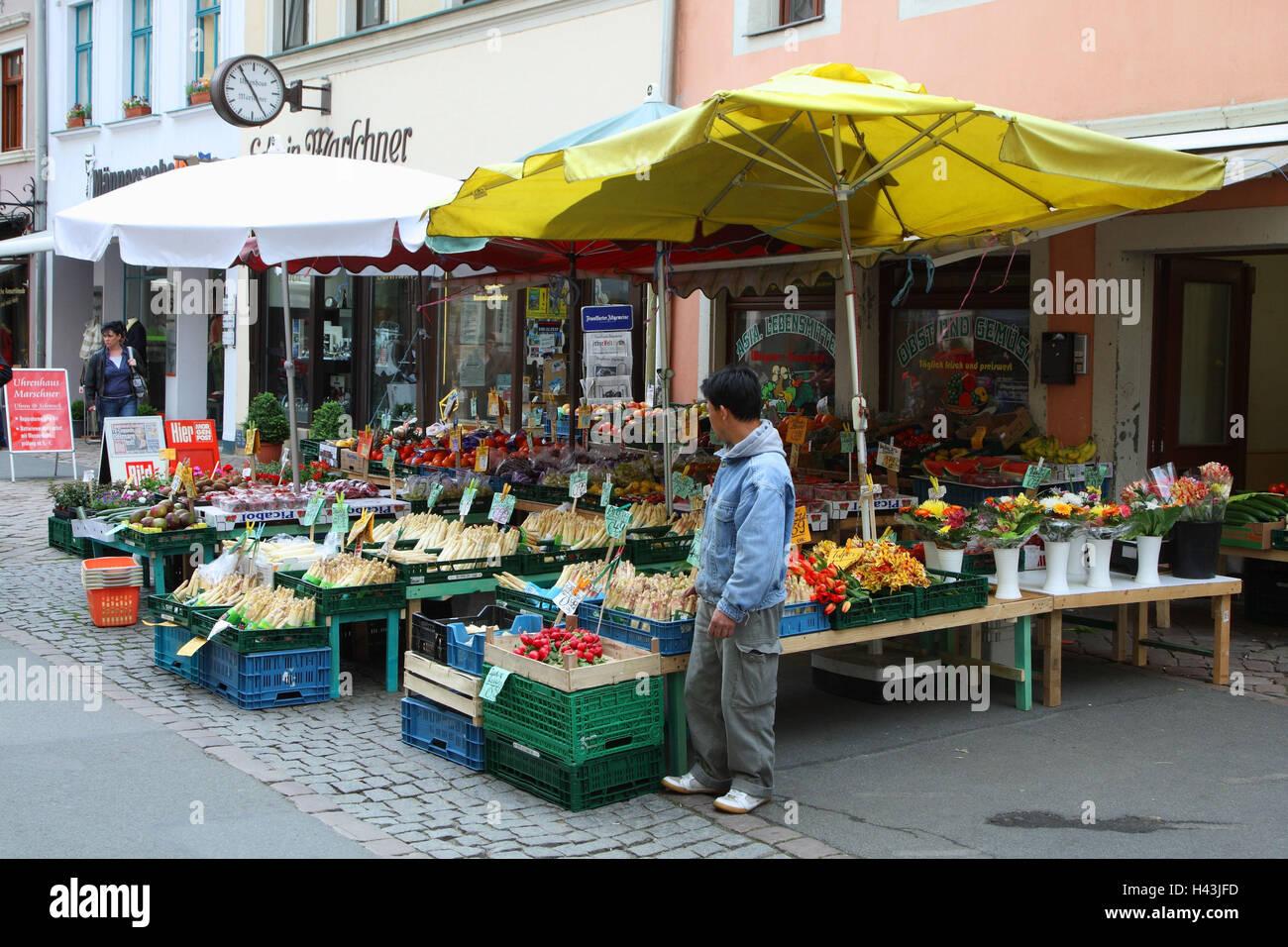 Germany, Saxon Switzerland, Pirna, Old Town, greengrocery, - Stock Image