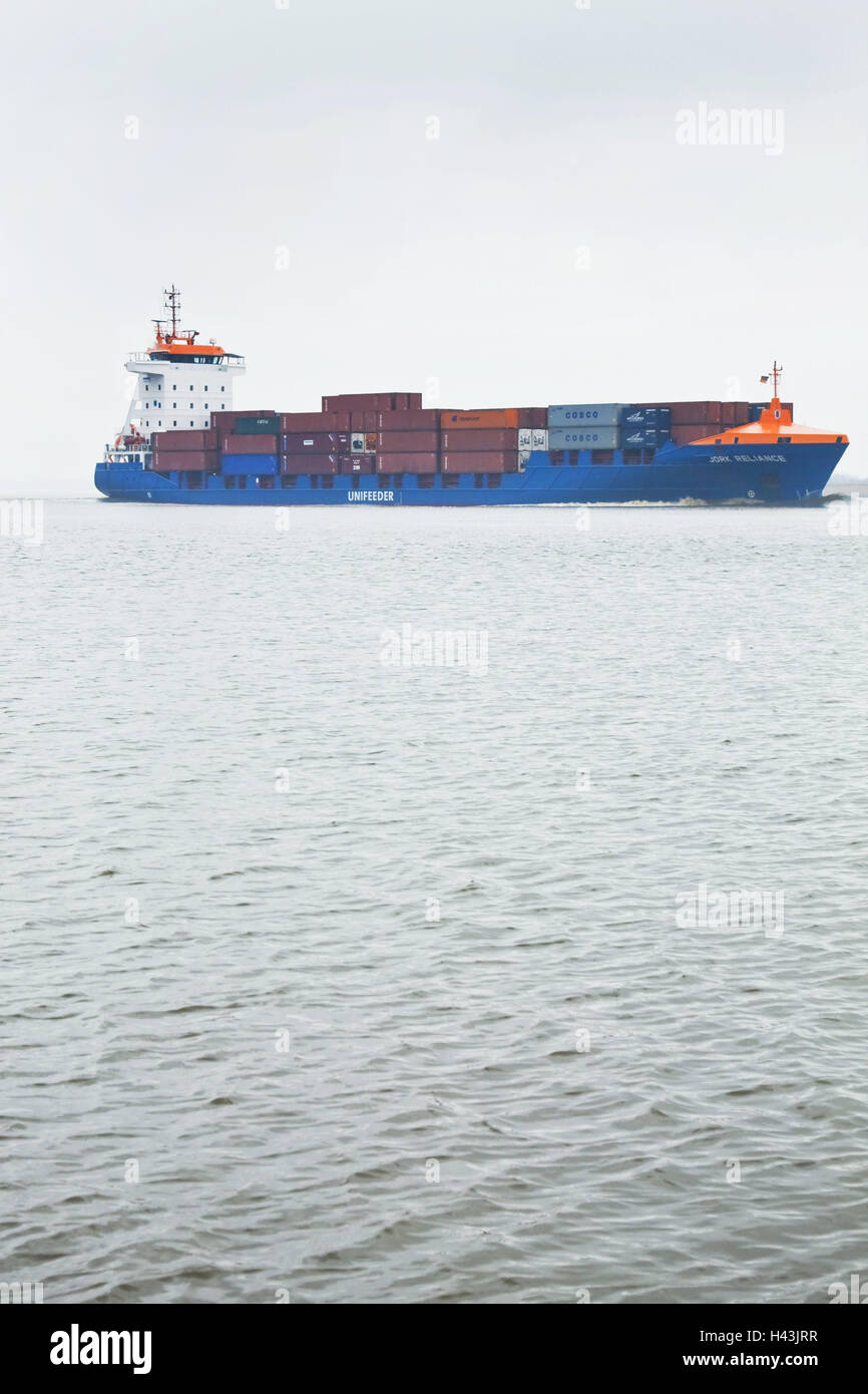 Germany, Hamburg, the Elbe, container ship, side view, outside, harbour, river, waters, ship, container, transport, - Stock Image