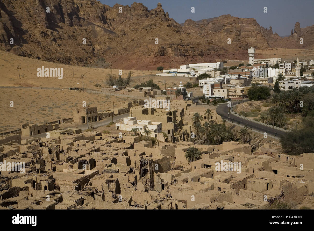 Saudi Arabia, Al-Ula, town view, al-Madina, Old Town, provincial town, mucky setting, mucky houses, houses, buildings, - Stock Image