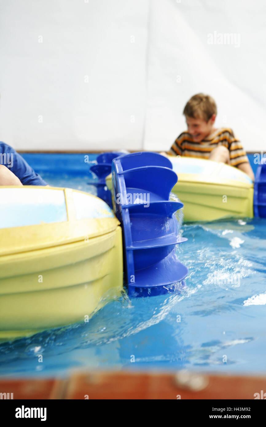 Fun fair, water cymbal, boy, bucket wheel boots, people