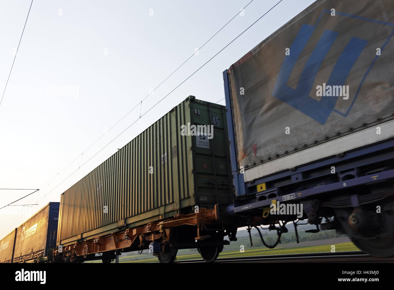 Freight train, intermodal transport, wagons, detail, - Stock Image