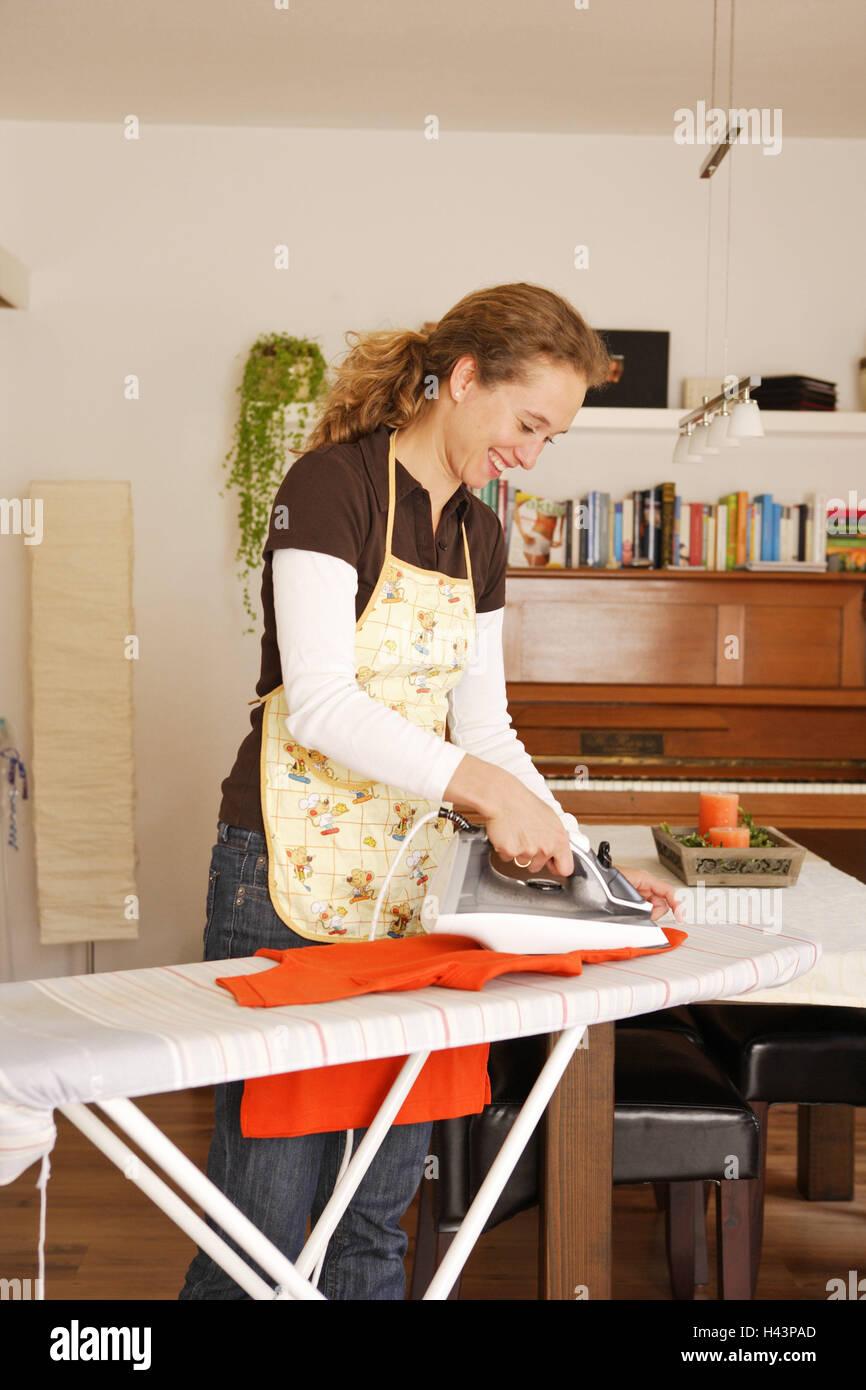 Housewife, ironing, - Stock Image