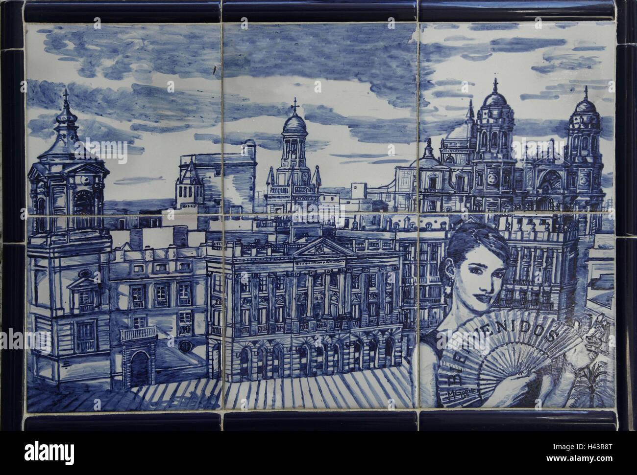 Faience painting stock photos faience painting stock for Azulejos cadiz