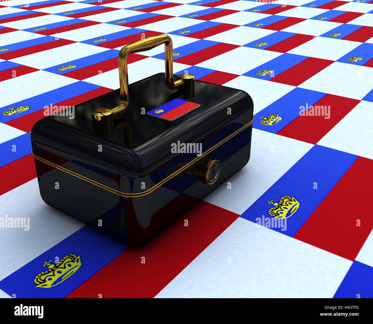 Cashbox, black, coats arms, Liechtenstein, cash box, lockable, banknotes, money, cash, retention, icon, black money, Stock Photo