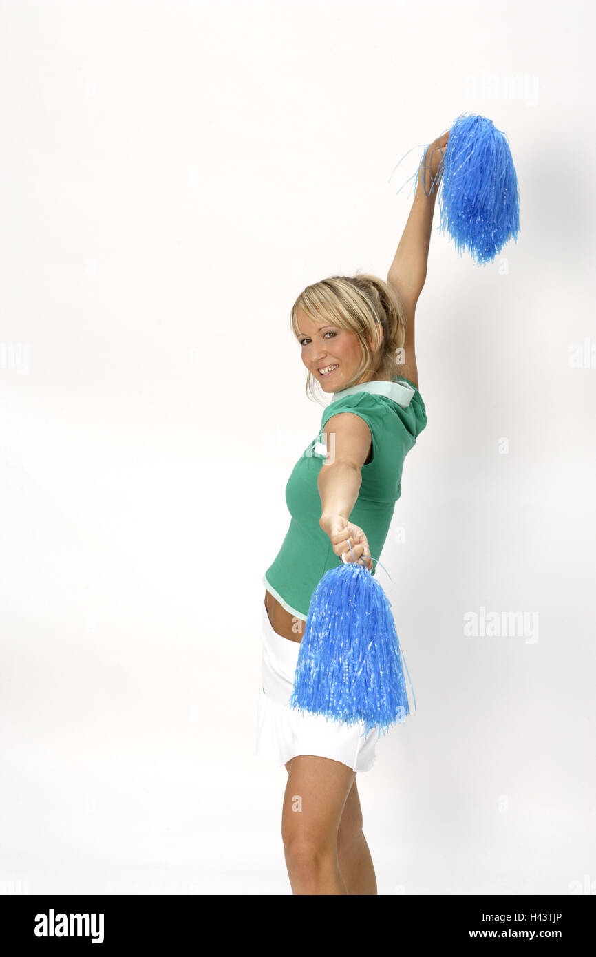 Woman Young Cheerleader Pom Pon Side View Stock Image