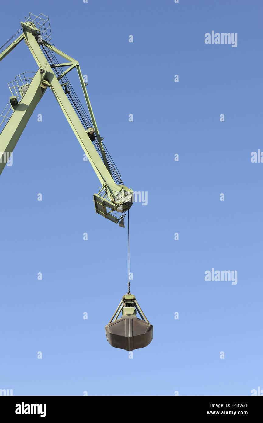 Crane, men at work, claw arm, detail, heaven, blue, - Stock Image