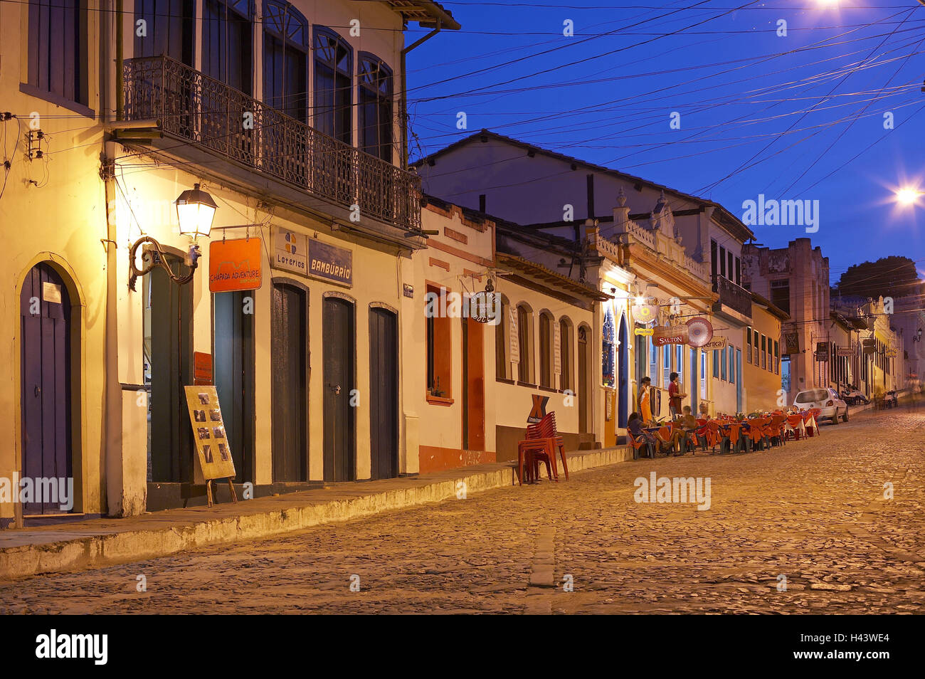 Brazil Bahia Lencois city hall square terrace lighting evening South America town destination space houses buildings architecture ... & Brazil Bahia Lencois city hall square terrace lighting evening ...