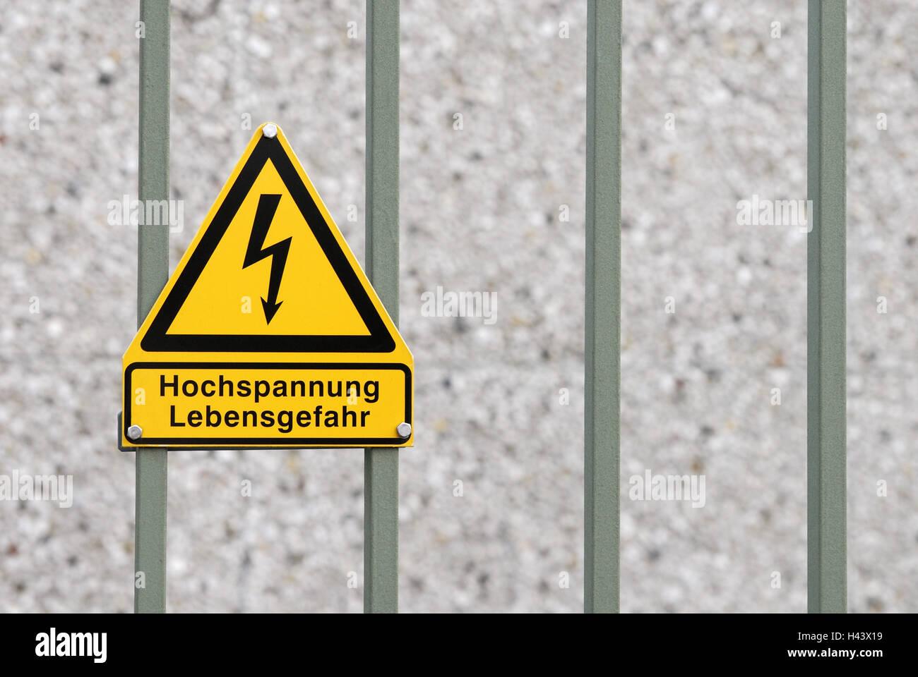 High voltage, sign, mortal danger, goal, defensive wall, - Stock Image