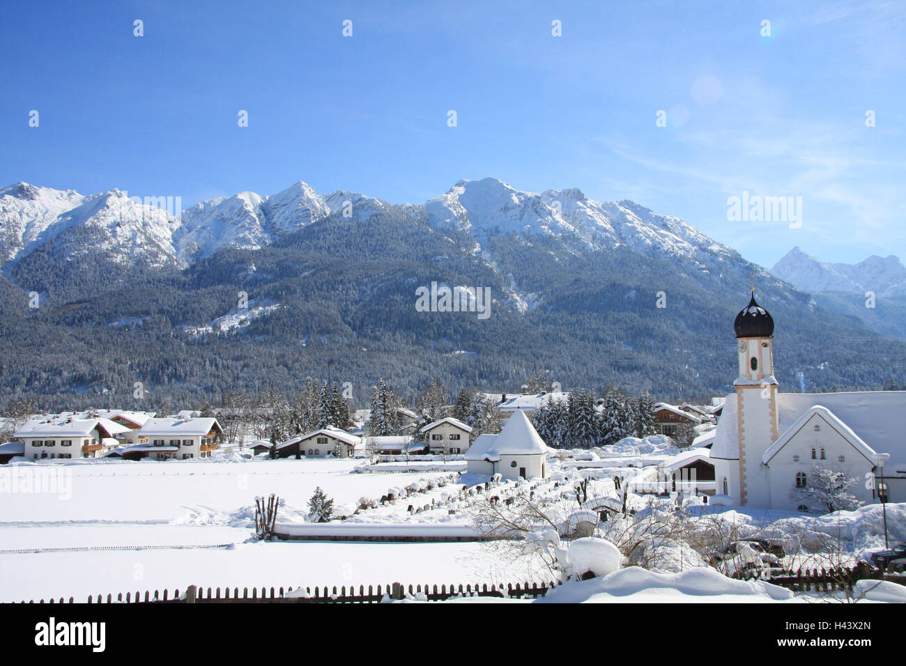 Germany, Bavaria, Werdenfels, embankment region, local view, church, Soiern, South Germany, Upper Bavaria, place, - Stock Image