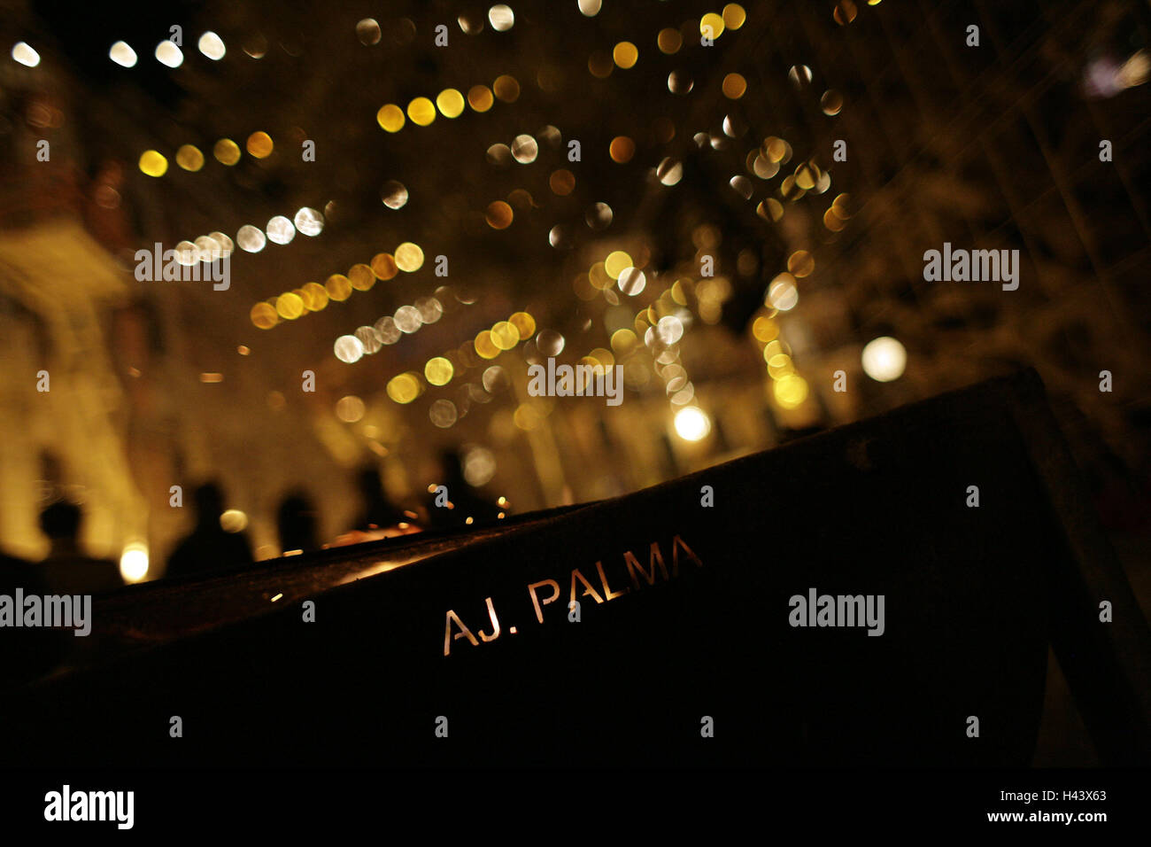 Spain, island Majorca, Palma, night, fireworks, the Balearic Islands, island, Majorca, lights, glitters, dots, people, Stock Photo