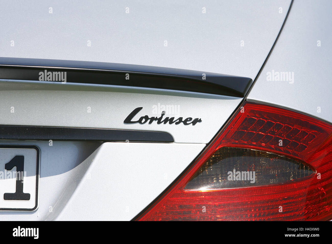 Sports cars, Mercedes Lorinser, silver, rear, close up, vehicle, car, stroke, Lorinser, rear, rear light, tuner, - Stock Image