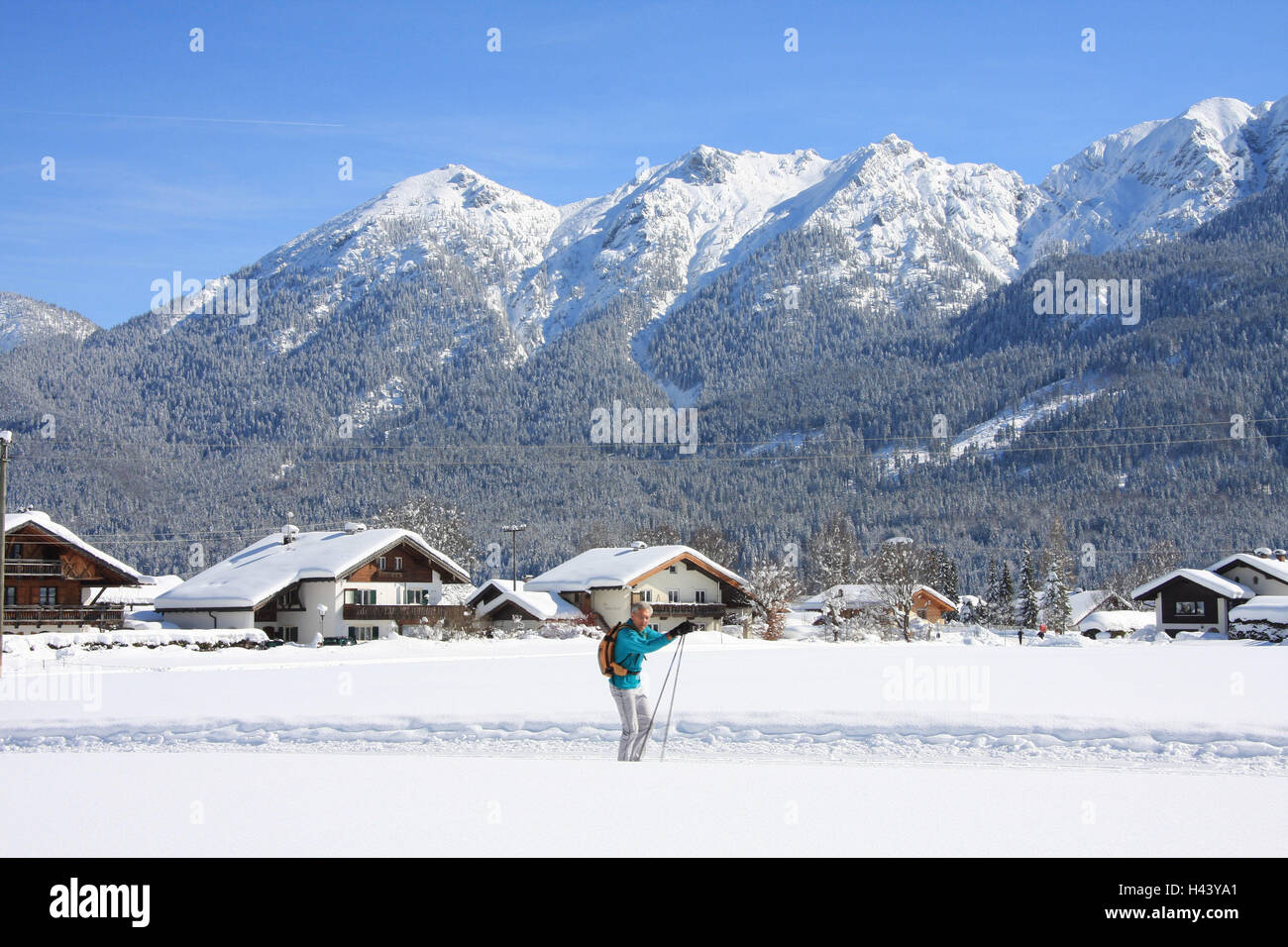 Germany, Bavaria, Werdenfels, embankment region, local view, to Soiern, cross-country trail, cross-country skier, - Stock Image