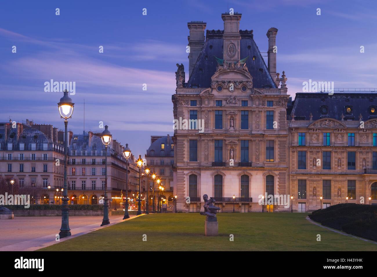 France, Paris, Ile de France, Louvre, park, dusk, - Stock Image