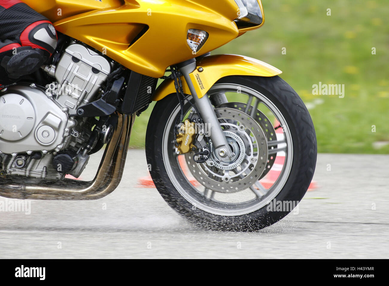 Motorcycle, journey, street, brake, grit, ABS test, detail, front wheel, - Stock Image