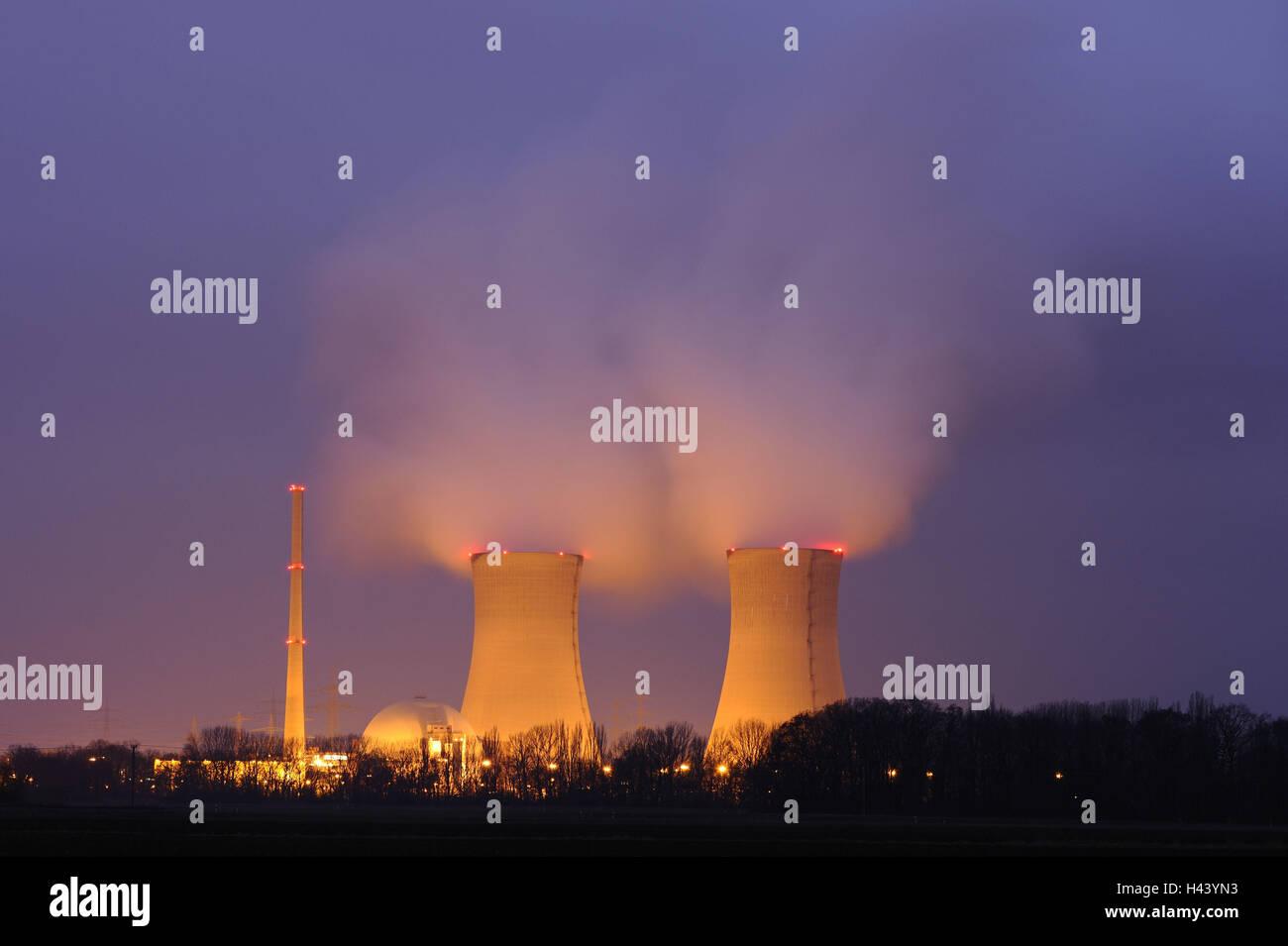 Evening, nuclear power plant field Grafenrhein, Lower Franconia, Bavarians, Germany, - Stock Image