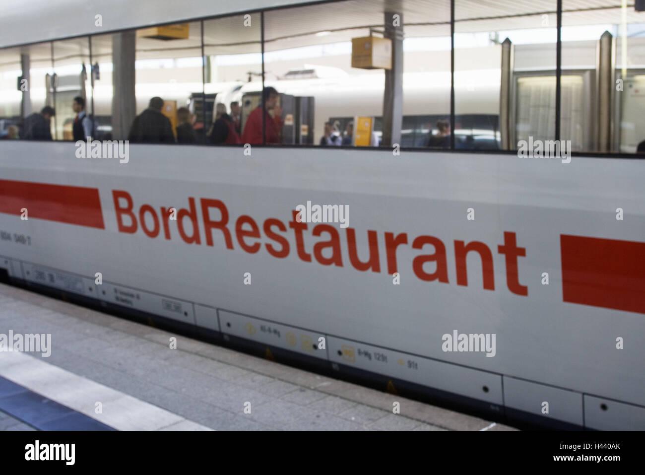 Railway track, intercity express, board restaurant, outside, no property release, platform, German Railways, train, - Stock Image