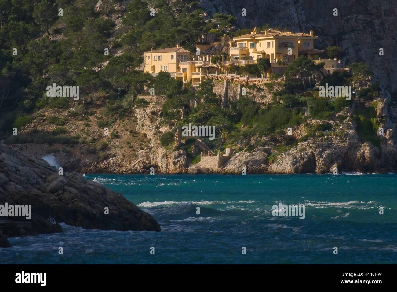 Spain, Majorca, Badia de Andratx, bile coast, villa, the Balearic Islands, Balearic Islands island, coast, steep - Stock Image