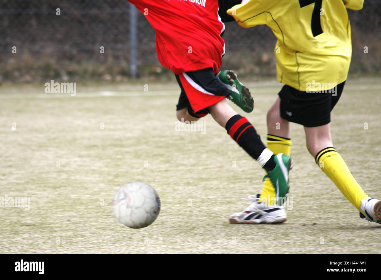 Football, boy, game scene, foul, detail, schoolboy's tournament, tournament, art turf, defence, foul, play, - Stock Image